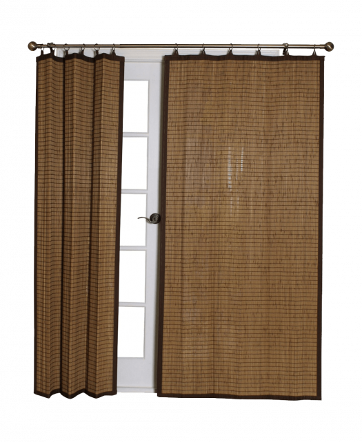 Bamboo Ring Top Curtain BRP07 40-Inch L x 84-Inch H Panel Colonial Brown